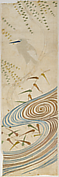 Piece from a Noh Costume (Nuihaku) with Egret (Sagi) and Willow Tree