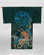 Kimono-Shaped Coverlet (yogi) with Design of Lobsters and Crest (mon) of Three Cloves