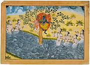 The Gopis Plead with Krishna to Return Their Clothing Folio from a Bhagavata Purana (Ancient Stories of Lord Vishnu) series