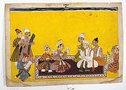 Court Artist Drawing the Portraits of Bharata and Shatrughna: Folio from the Shangri II Ramayana Series
