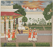Emperor Muhammad Shah with Falcon Viewing His Garden at Sunset from a Palanquin