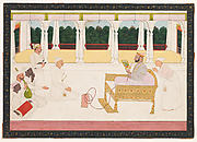 Raja Balwant Singh of Jasrota Viewing a Painting Presented by the Artist, Presumably Nainsukh