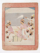 Maharaja Sansar Chand of Kangra Enjoys Paintings with His Courtiers