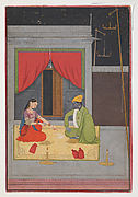 Krishna and Radha Gambling with Stick Dice by Candlelight / Kartika (October-November); Folio from a Baramasa Series