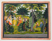 Krishna Flirting with the Gopis, to Radha's Sorrow: Folio from a Gita Govinda Series
