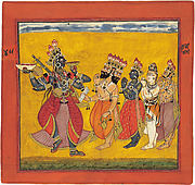 Bhadrakali, Revered by the Assembled Gods, Dances Ecstastically