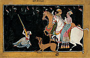 Rupmati and Baz Bahadur Hunting at Night