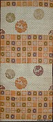Obi with Pattern of Checks and Floral Roundels