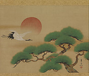 Crane and Pine Tree with Rising Sun