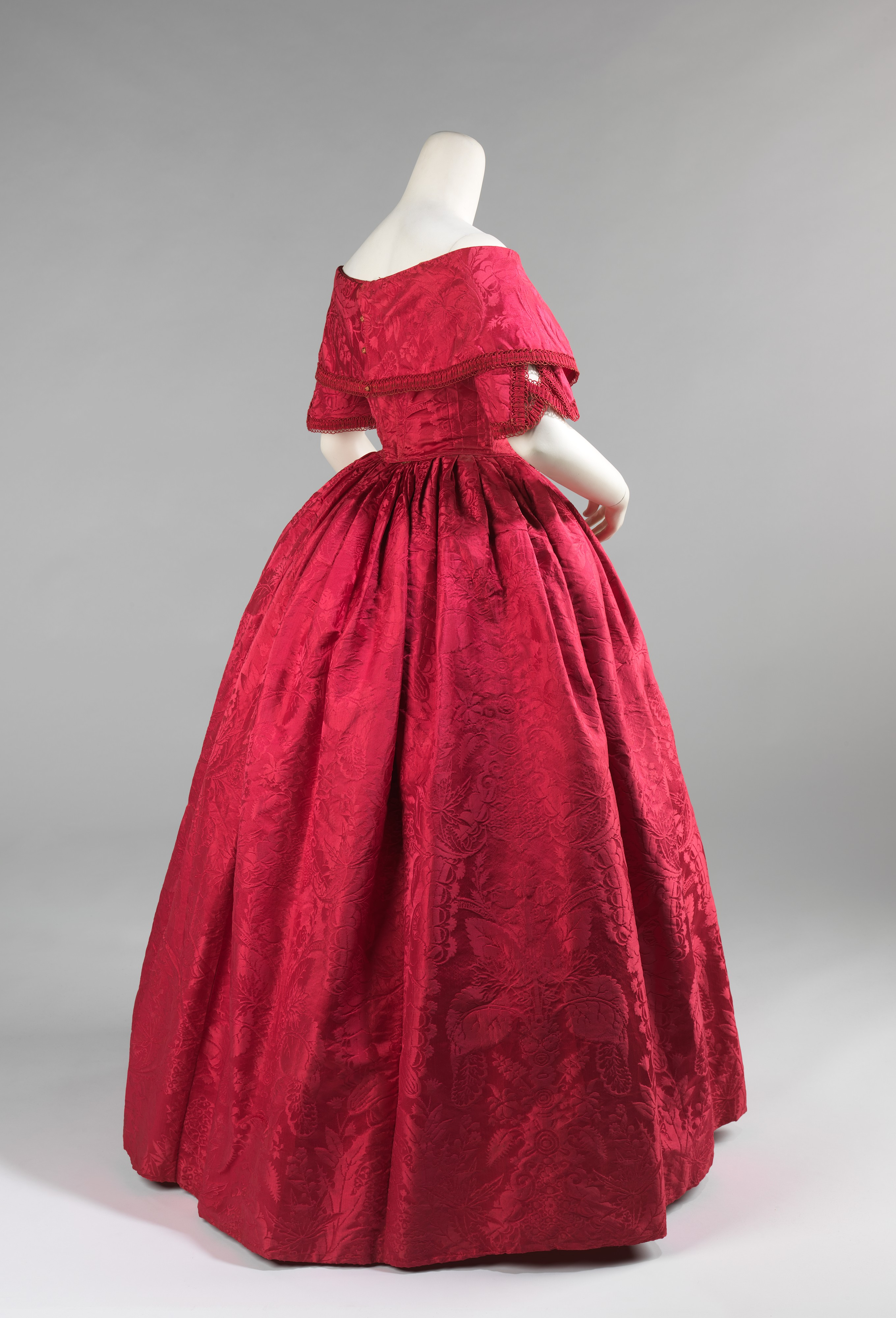 Ball Gown C 1842 This Is A Striking Example Of How 18th Century Fabric Was Treasured The Textile Was Probably Ori Historical Dresses Fashion History Fashion