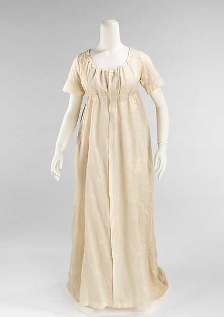 Regency or Empire style dress, 1809-1810, in The Met.