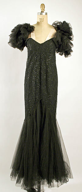 coco chanel vintage 30s Dress, Evening