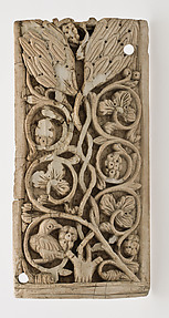 Plaque Decorated with Vine Scroll and a Bird