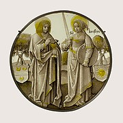 Heraldic Roundel with Saints John the Evangelist and Christina