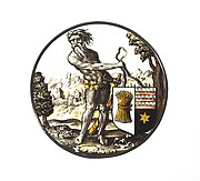 Roundel with Wild Man Supporting a Heraldic Shield
