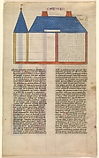 Elevation of Solomon&#39;s Temple, one of six illustrated leaves from the Postilla Litteralis (Literal Commentary) of Nicholas of Lyra