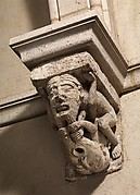 Corbel with a Pair of Beard-Pulling Acrobats