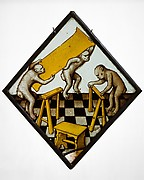 Roundel with Three Apes Building a Trestle Table