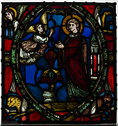 Stained glass fragment with an Angel Appearing to a Deacon Saint with the Symbols of the Four Evangelists
