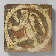 Tile with rampant lion