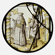 Roundel with two Kings from an Adoration Group