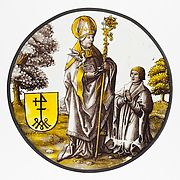 Roundel with Saint Basil the Great with a Donor