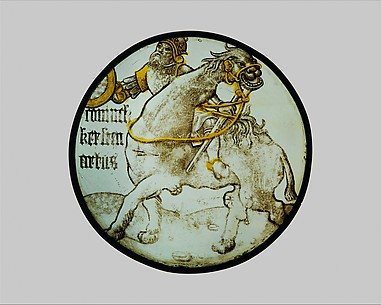 Roundel with King Arthur Riding on a Camel (from a Series of the Nine Heroes)
