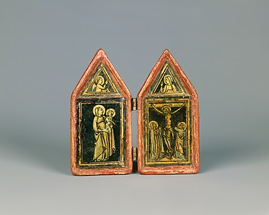 Devotional Diptych with the Annunciation, the Virgin and Child, and the Crucifixion