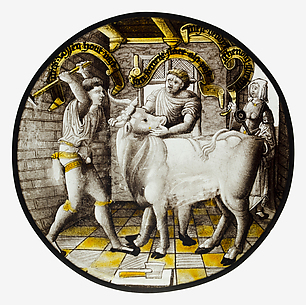 Roundel with Killing of the Ox (December)