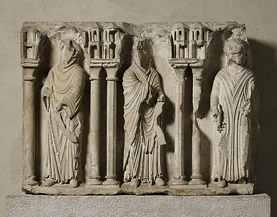 Relief Fragment with Three Monks