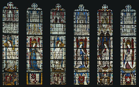 The Virgin Mary and Five Standing Saints above Predella Panels