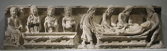 Lintel with the Entombment of Christ (right) and the Holy Women and Angel at the Sepulchre (left)