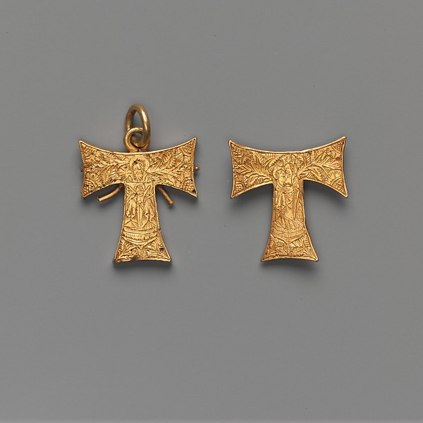 Pendant Capsule in the Form of a Tau Cross, with the Trinity and the Virgin and Child
