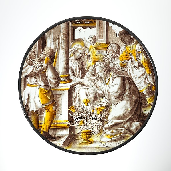 Roundel with Adoration of the Kings