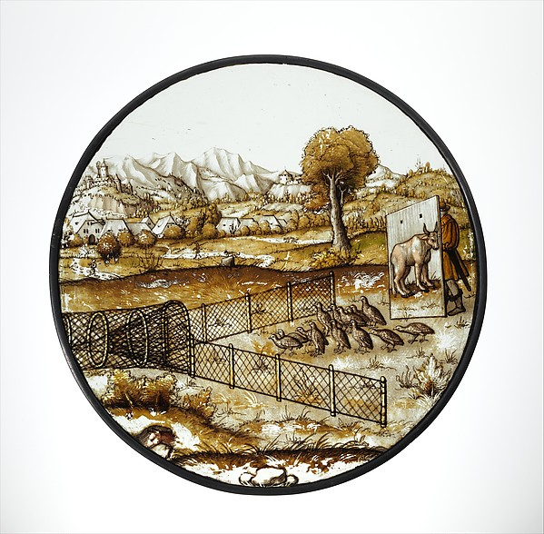 Roundel with Netting Quail
