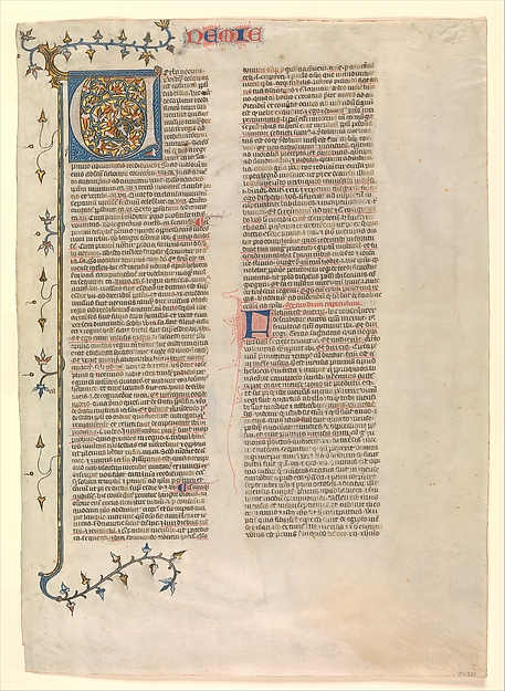 """Initial """"V"""" from the commentary of Nehemiah, one of six illustrated leaves from the Postilla Litteralis (Literal Commentary) of Nicholas of Lyra"""