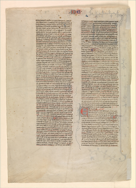 "Initial ""V"" from the commentary of Nehemiah, one of six illustrated leaves from the Postilla Litteralis (Literal Commentary) of Nicholas of Lyra"