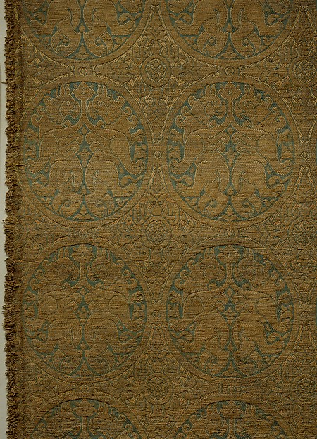 Woven Silk, with Addorsed Griffins in Roundels and Pseudo-Kufic Inscription