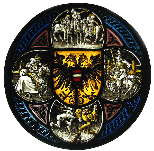 Quatrefoil Roundel with Arms and Secular Scenes