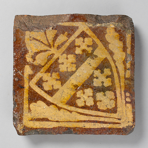 Two-Colored Tile with Arms of the Beauchamp Family