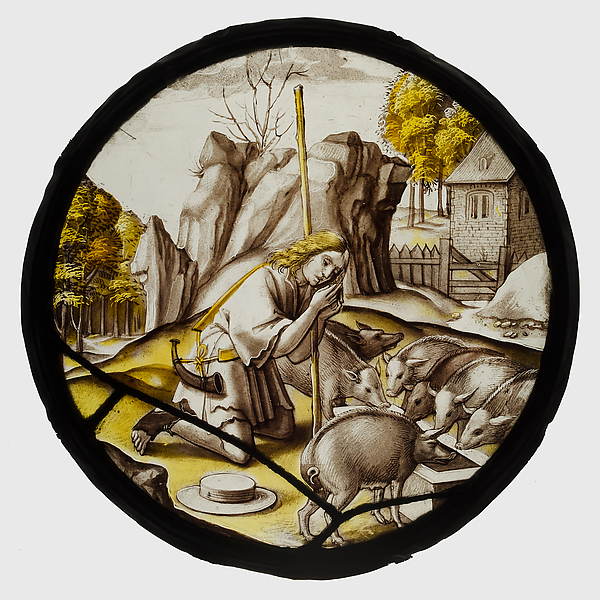 Roundel with the Prodigal Son among the Swine