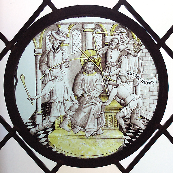 Roundel with Christ crowned with thorns and mocked