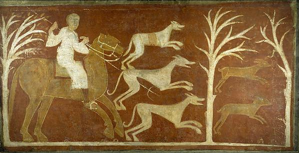 Fresco with hunting scene
