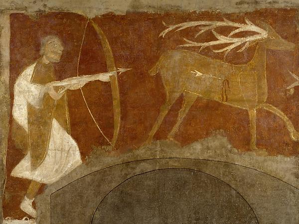 Fresco, with hunting scene