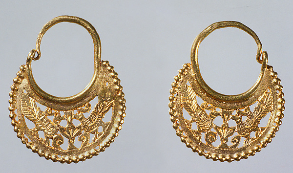 Pair of Crescent-Shaped Earrings with Peacocks