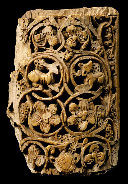 Plaque Decorated with Vine Scroll and Animals
