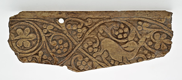 Plaque Decorated with Stylized Vine Scroll and a Deer