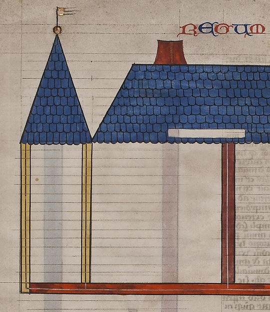 Elevation of Solomon's Temple, one of six illustrated leaves from the Postilla Litteralis (Literal Commentary) of Nicholas of Lyra