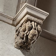 Corbel with Five Interlaced Hair-Pulling Acrobats