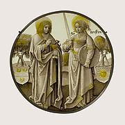 Heraldic Roundel with Saints John the Evangelist and Christina